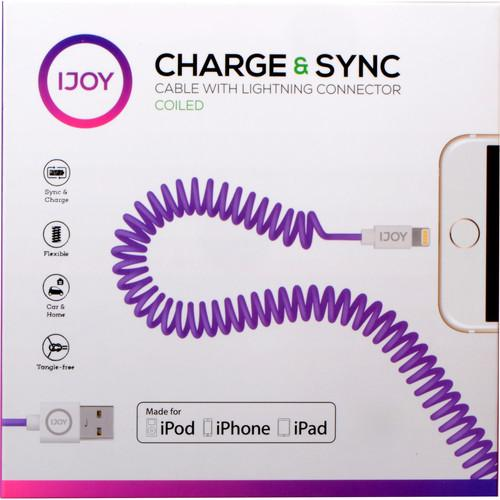 iJOY Coiled Lightning to USB 2.0 Cable (3', Purple) IP-COILM-PRP