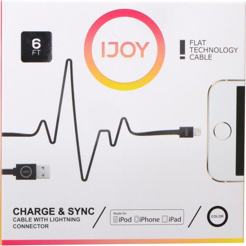 iJOY Lightning to USB Flat Line Cable (6', Black) IP-6FTM-BLK