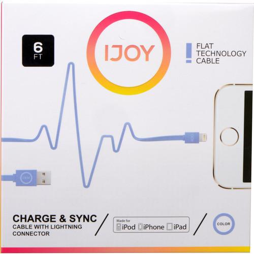 iJOY Lightning to USB Flat Line Cable (6', Blue) IP-6FTM-BLU