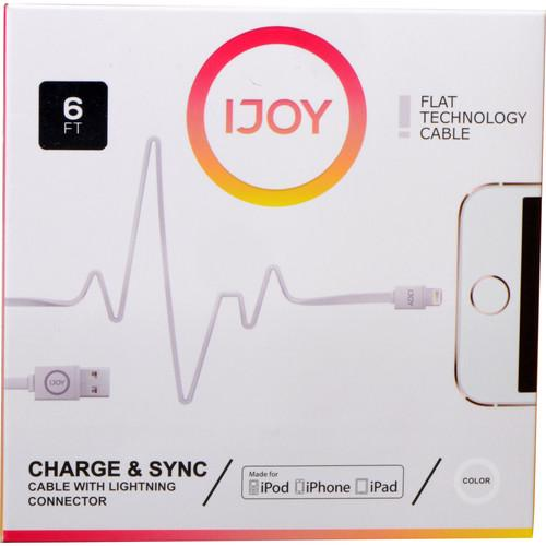 iJOY Lightning to USB Flat Line Cable (6', White) IP-6FTM-WHT