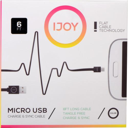 iJOY USB Type-A to Micro-USB Flat Charge & Sync MICFT6-BLK