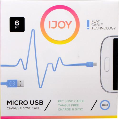 iJOY USB Type-A to Micro-USB Flat Charge & Sync MICFT6-BLU