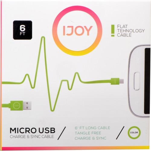 iJOY USB Type-A to Micro-USB Flat Charge & Sync MICFT6-GRN
