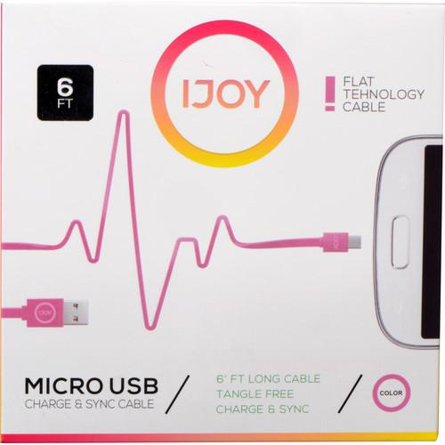 iJOY USB Type-A to Micro-USB Flat Charge & Sync MICFT6-PNK