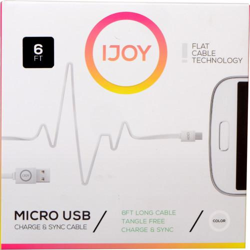 iJOY USB Type-A to Micro-USB Flat Charge & Sync MICFT6-WHT