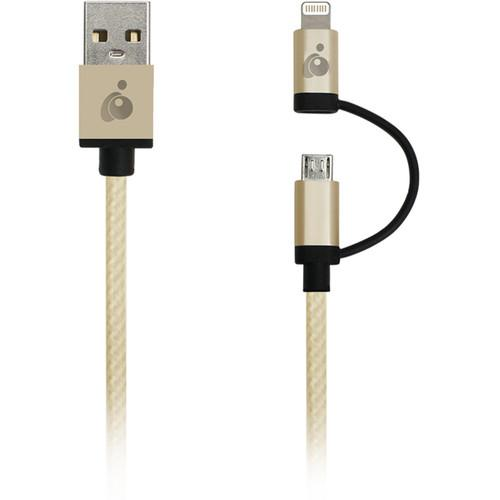 IOGEAR DuoLinq 2-in-1 Charge & Sync Cable (Gold) GUML01-GLD