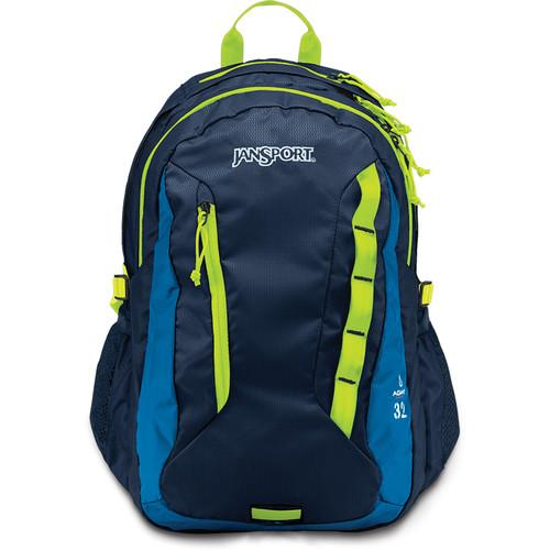JanSport Agave 32L Backpack (Navy/Lime Punch) JS00T14F0P1