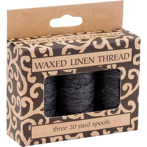 Lineco Waxed Linen Thread Roll (3-Pack, 20 yd, Black) BBHM209