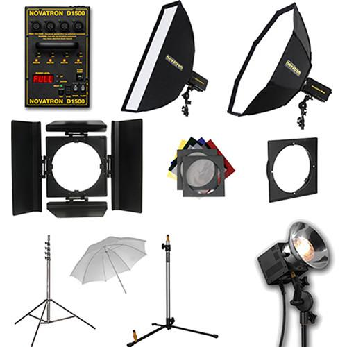 Novatron D1500 4 Fan-Cooled Light Kit with Umbrella and N2629KIT