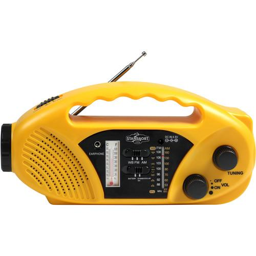 Stansport Compact Crank/Solar/Battery-Powered AM/FM Radio 01-517