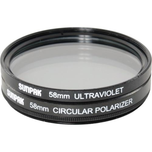 Sunpak 58mm UV and Circular Polarizer Filter Kit CF-7080-TW-MW