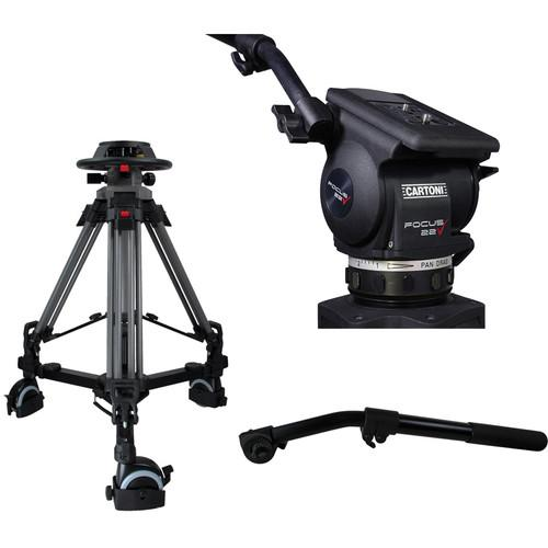 Cartoni Pedestal with Focus 22 Head, 2 Pan Bars, 100mm P2F22
