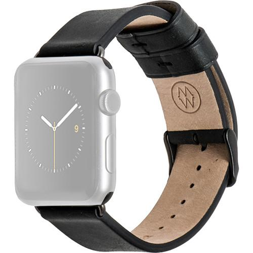 MONOWEAR Black Leather Band for 38mm Apple Watch MWLTBK20MTDG