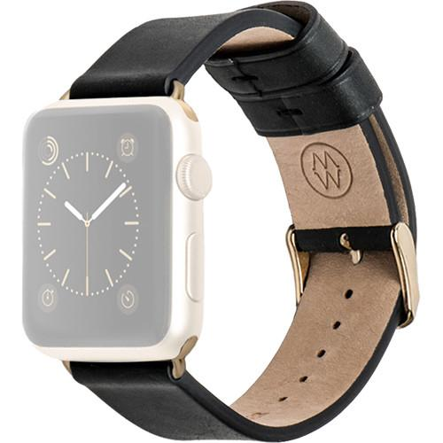 MONOWEAR Black Leather Band for 38mm Apple Watch MWLTBK20MTYG