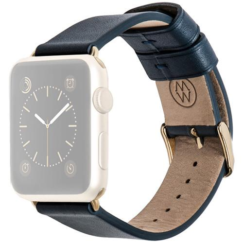 MONOWEAR Blue Leather Band for 38mm Apple Watch MWLTBU20MTYG