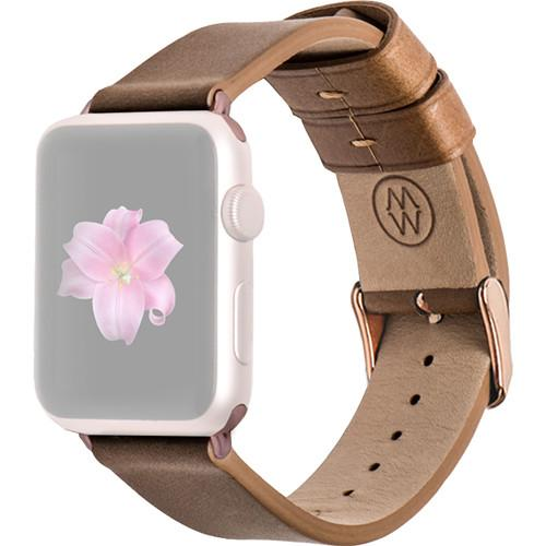 MONOWEAR Brown Leather Band for 38mm Apple Watch MWLTBR20MTRG