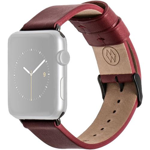 MONOWEAR Red Leather Band for 38mm Apple Watch MWLTRD20MTDG