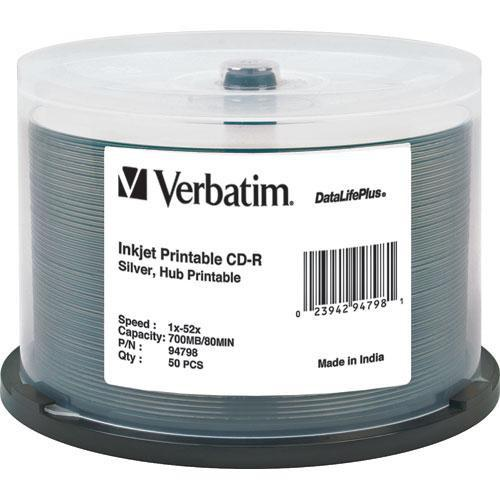 Verbatim CD-R Silver Inkjet Printable Disc (50) 94798