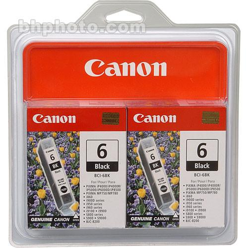 Canon  BCI-6BK Black Ink Tank Twin Pack 4705A037