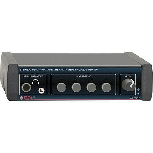 RDL EZ-HSX4 4-Channel Audio Switcher with Headphone Amp EZ-HSX4