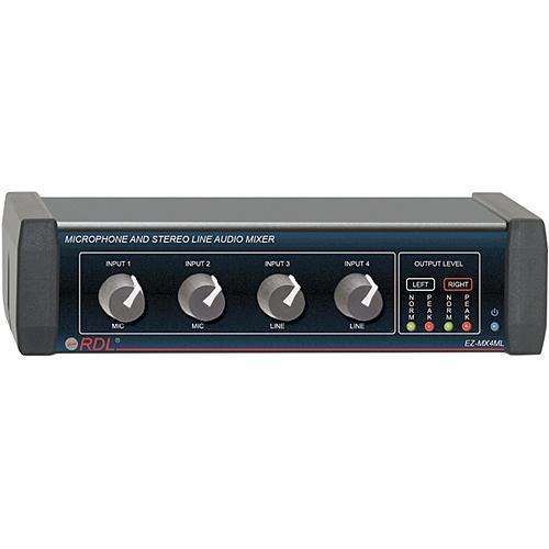 RDL EZ-MX4ML - Microphone and Stereo Line Audio Mixer EZ-MX4ML