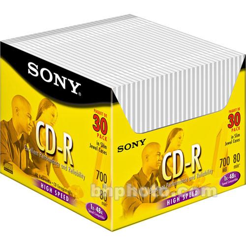 Sony CD-R Data 700MB 48x Write Once Recordable Compact 30CDQ80R