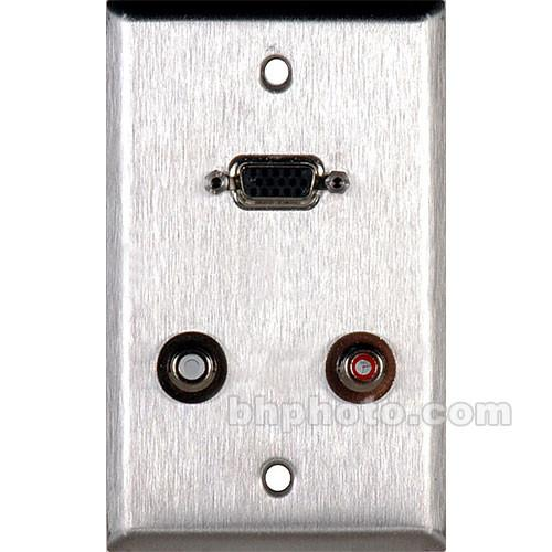 TecNec WPL-1155 1 Gang Wall Plate - HD-15 Barrel, 2 RCA WPL-1155