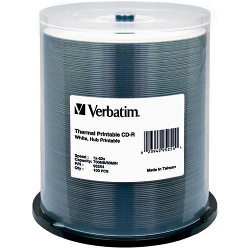 Verbatim  CD-R White Thermal/Hub Disc (100) 95254