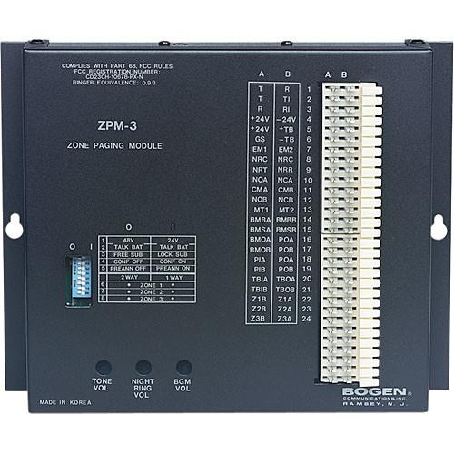Bogen Communications ZPM3 3-Zone Telephone Paging Module ZPM3