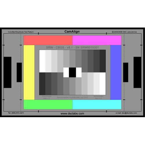 DSC Labs ColorBar/GrayScale Standard CamAlign Chip Chart CBGSS