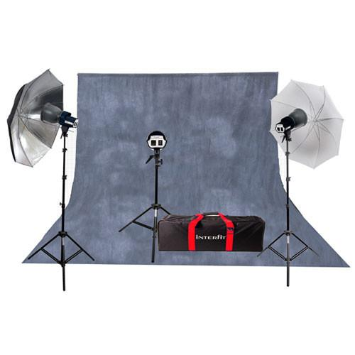 Interfit SXT3200 Three-Light Kit with Background INT115U