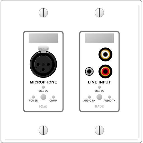 Rane RAD 2 2 Gang Wall Plate with 1 Microphone and 1 Line RAD2W