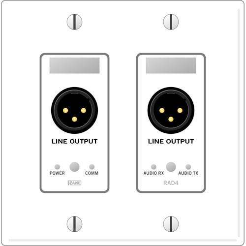Rane RAD 4 2 Gang Wall Plate with 2 Line Outputs (White) RAD4W