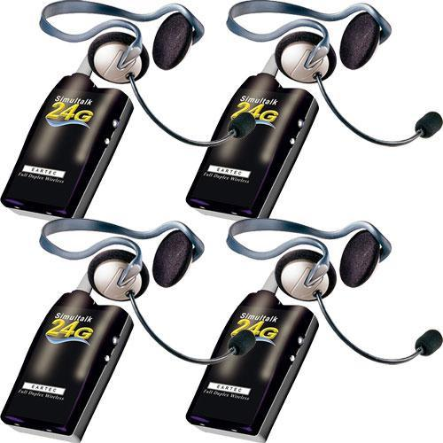 Eartec 4 Simultalk 24G Beltpacks with Monarch Headsets SLT24G4MO