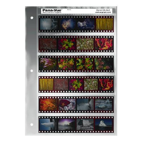 Pana-Vue 35mm Negative Pages (6 Strip/4 Frame, 25 Pages) EPA409