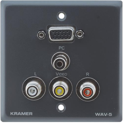 Kramer WAV-5 Passive Wall Plate - 15-pin HD, 3.5mm & 3 WAV-5