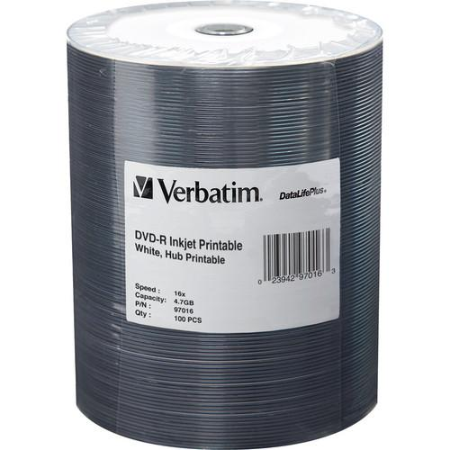 Verbatim DVD-R 4.7GB 16x Inkjet Printable Disc (100-Pack) 97016